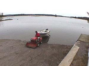 putting boat into water at ELCM