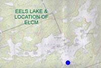 map showing location of Eels Lake Cottages and Marina on Eels Lake