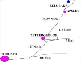 Map showing Location of Eels Lake Cottages and Marina